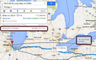 Google maps flight search highlighted