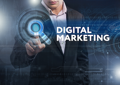 7 Spectacular Insights into AI and Other Digital Strategy Trends: Executive interacting with digital marketing graphic