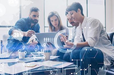 Data scientist in marketing: Team of marketers analyzing data
